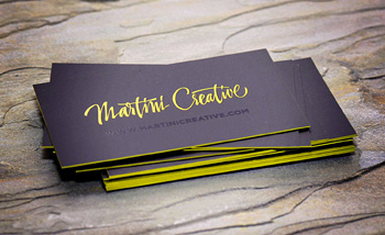 Edge painted business cards martini creative there are so many options today for creating unique business cards techniques include die cutting letterpress foil stamping embossing blind spot gloss reheart Gallery